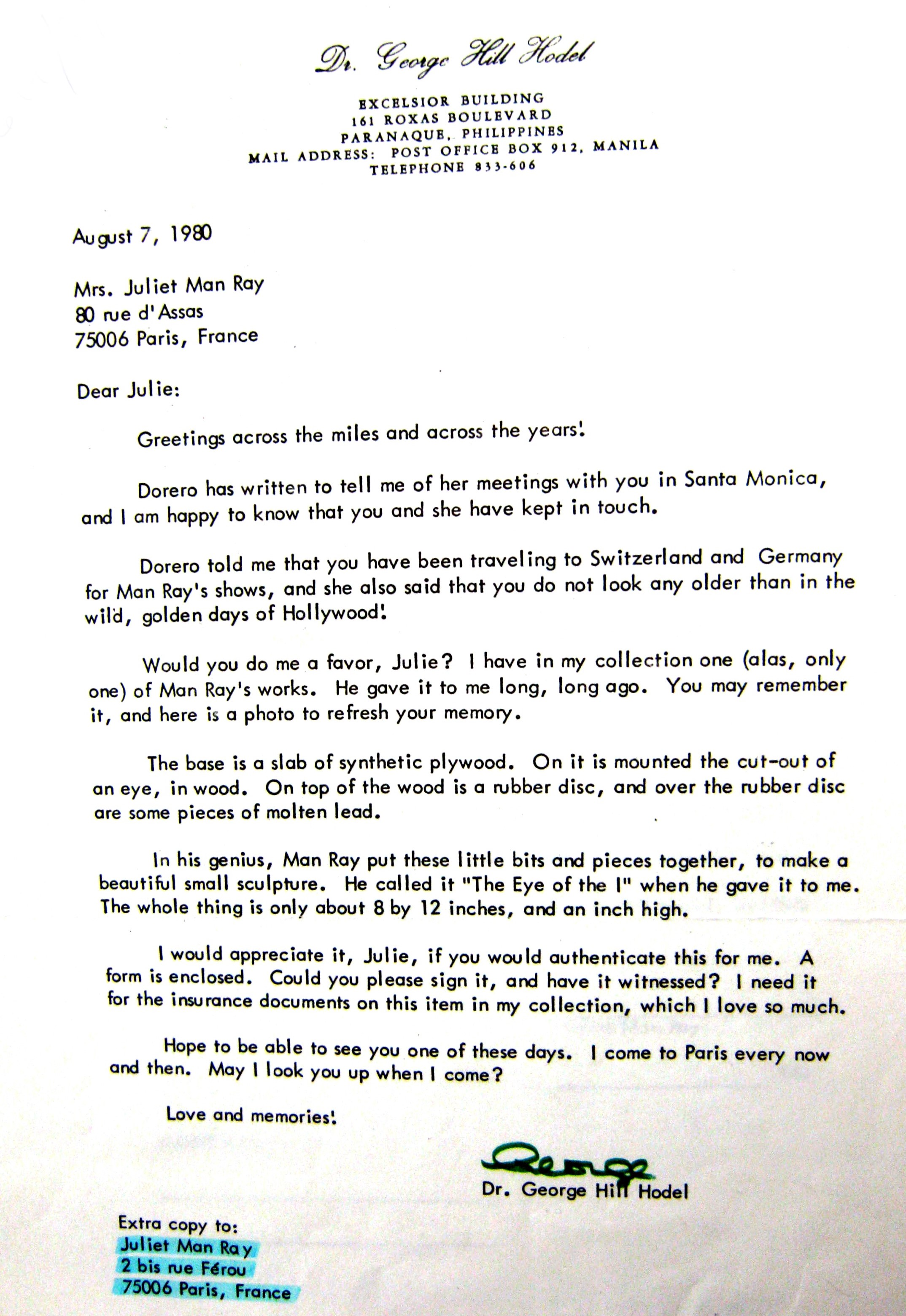 George hodel and juliet man ray letters 1980s correspondence and a copy of authentication which accompanied letter and was signed by juliet and returned to ghh in 1980 spiritdancerdesigns Choice Image